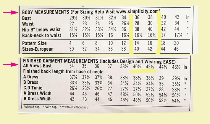 pattern size chart
