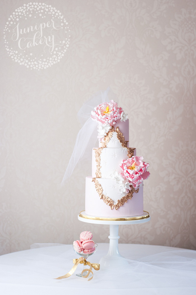 Pink Rococo inspired wedding cake by Juniper Cakery