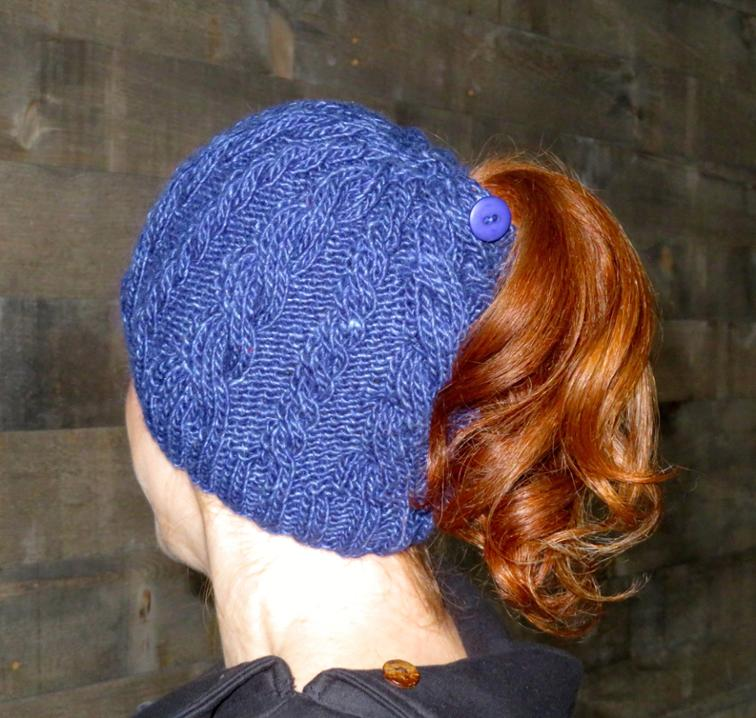 Double Cable Ponytail Hat Knitting Pattern