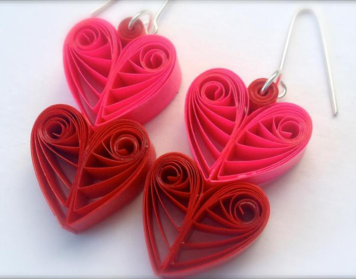 Heart Throb Quilled Paper Earrings