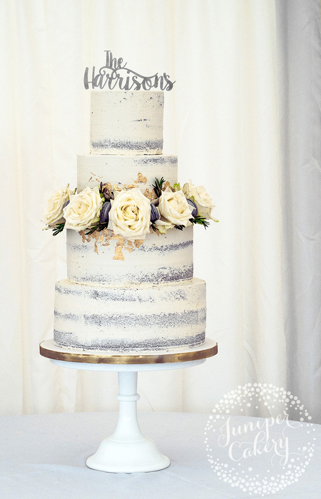 Rustic semi-naked wedding cake by Juniper Cakery