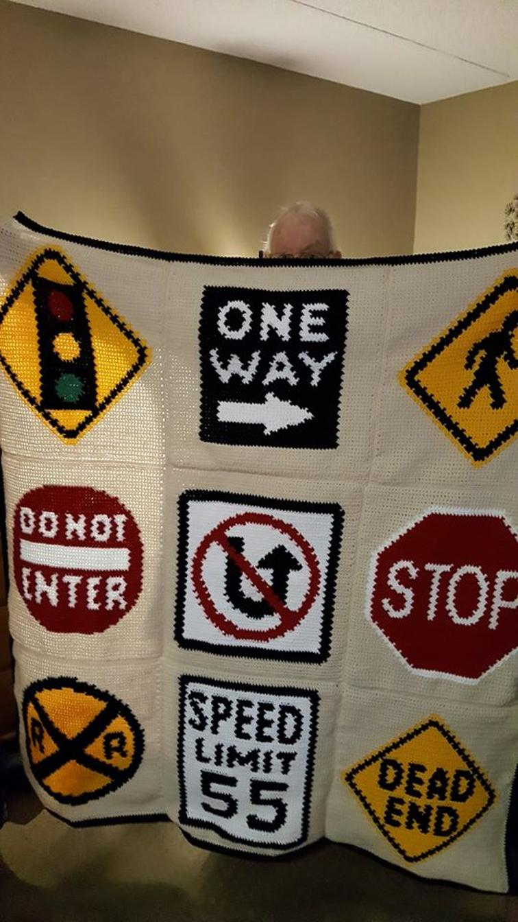 Street Signs Crochet Blanket