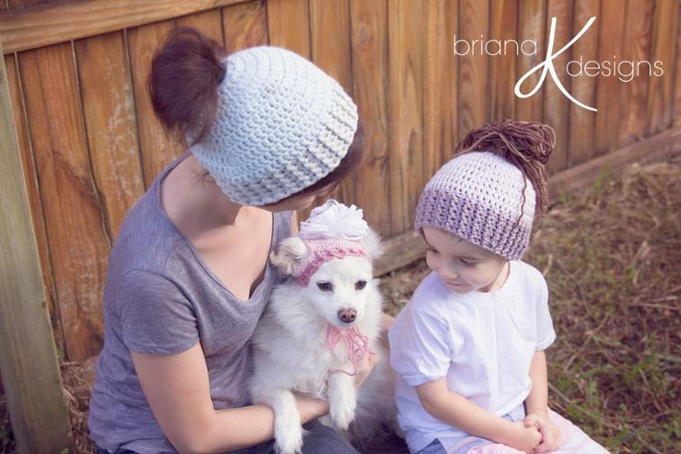 Messy Bun Ponytail Hat Crochet Pattern
