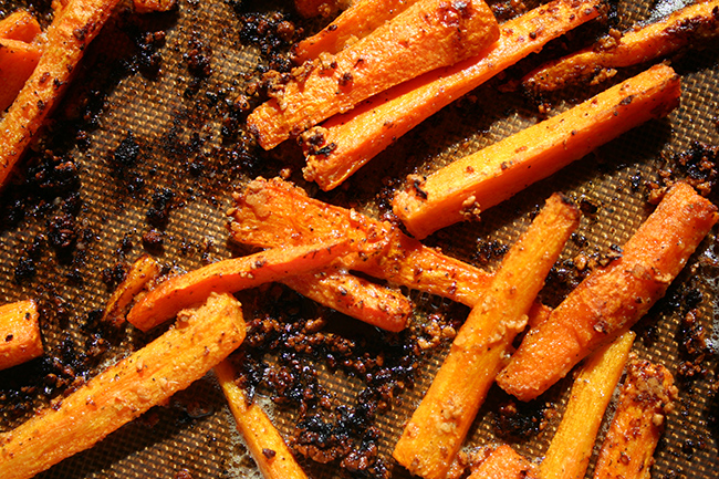 Carrot fries, cooked