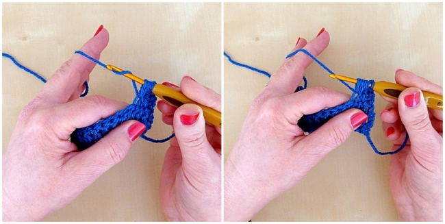 Crochet puff stitch tutorial second and third loop