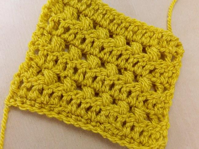 Crochet puff stitch tutorial swatch 2