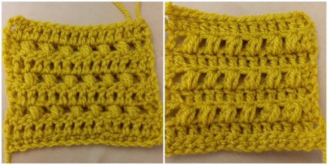 Crochet puff stitch tutorial swatch two front and back