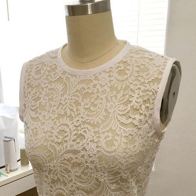 Double Fold Bias Binding on Sheer Lace Top