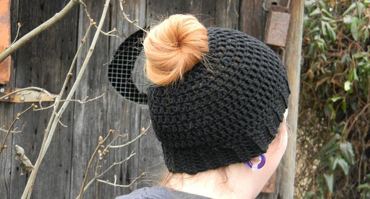 Fast and Simple Messy Bun Hat Crochet Pattern