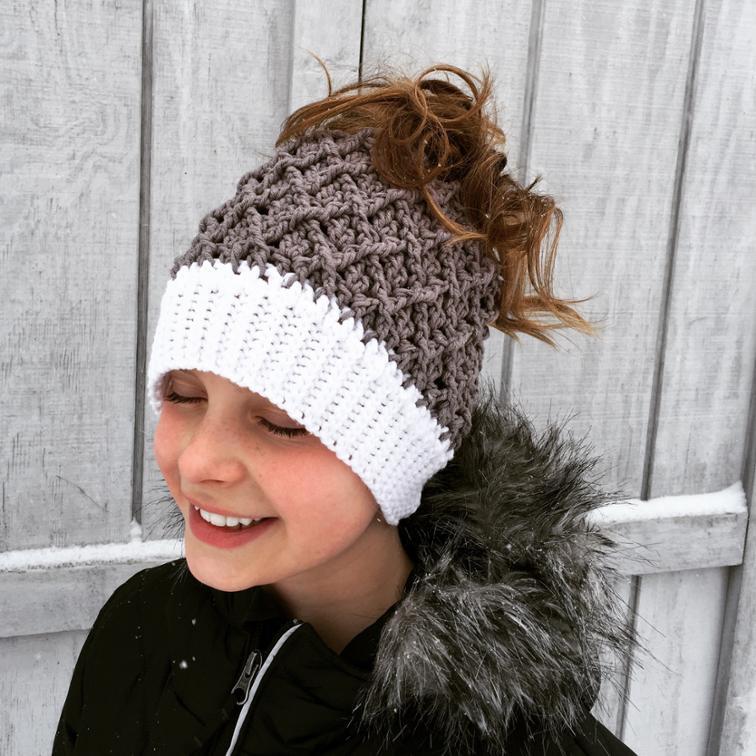 Mini Harlequin Ponytail Hat Crochet Pattern