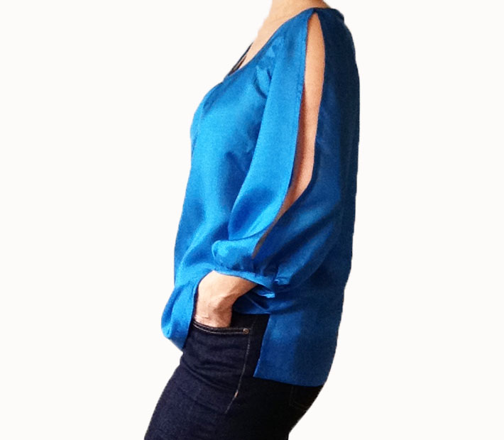 Split sleeve blouse blue silk