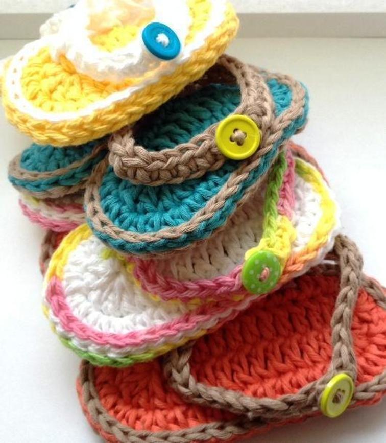 Chubby Baby Flip Flop Sandals Crochet Pattern