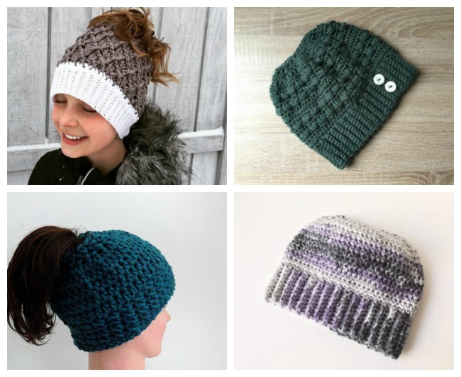 Crochet ponytail hat patterns