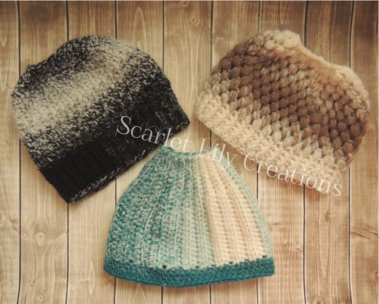 Messy Bun Ponytail Hat Crochet Patterns