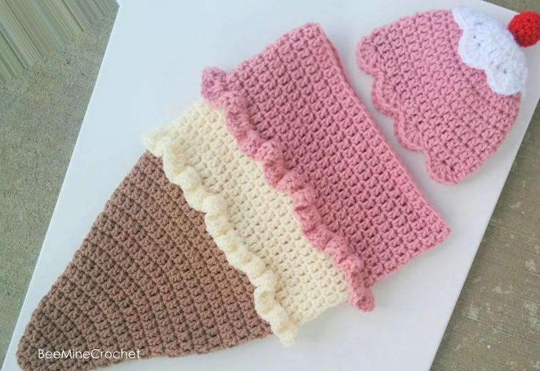 Newborn Crochet Ice Cream Cocoon Pattern