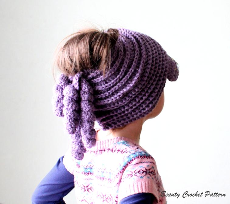 Newsboy Ponytail Bun Hat Crochet Pattern
