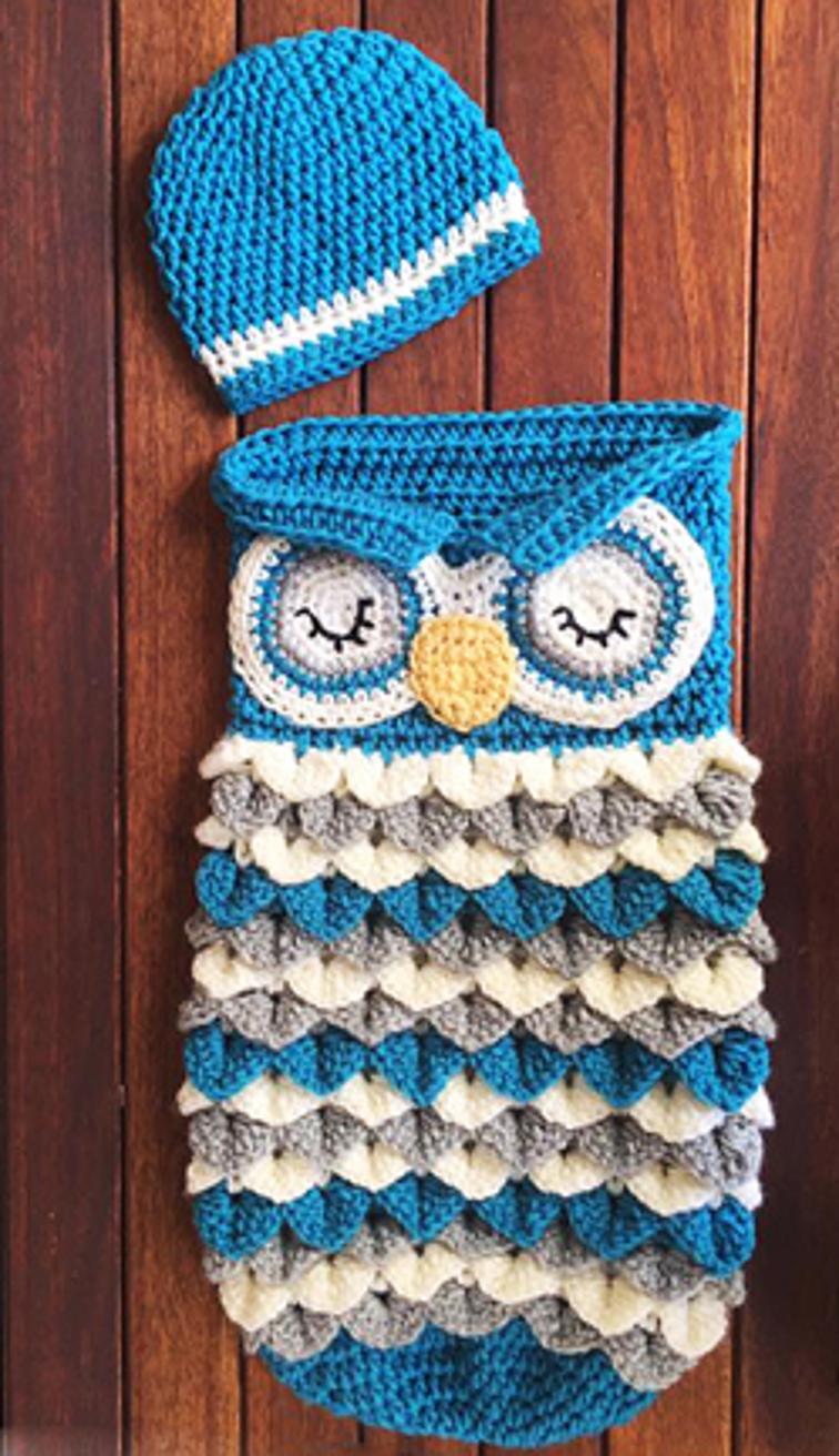 Owl Crochet Baby Cocoon Set