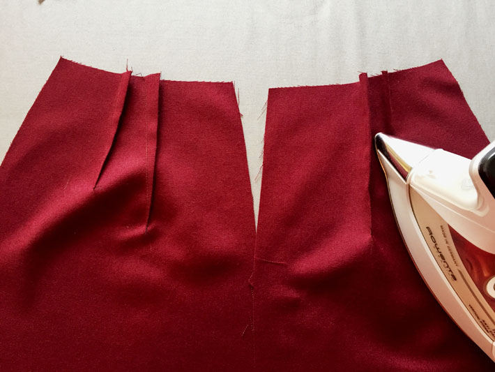 sew and pres darts on pencil skirt