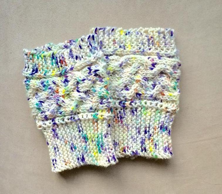 Speckles and Cables Boot Cuffs Knitting Pattern