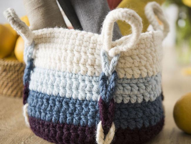 Striped Entwined Basket Crochet Kit