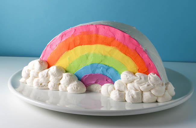 Rainbow Cake With Buttercream Clouds