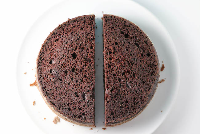 Round Chocolate Cake Cut in Half