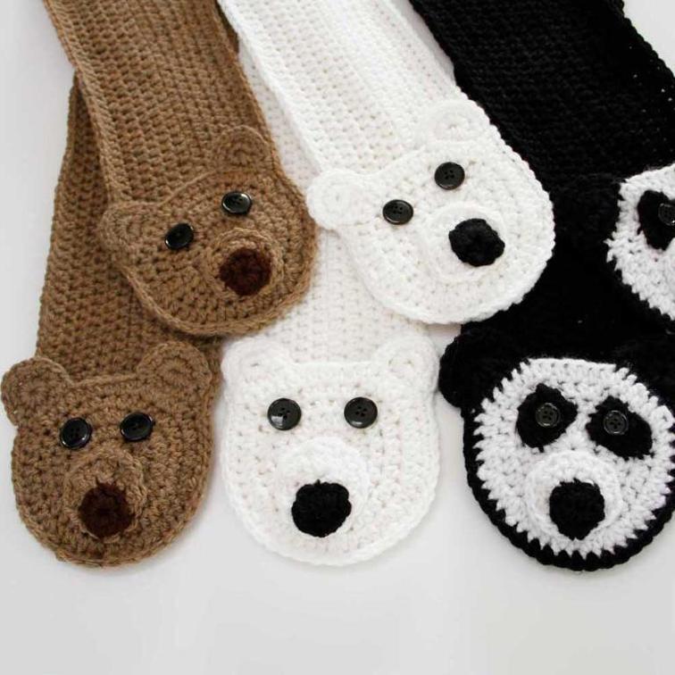 3 Bears Pocket Scarf Crochet Pattern