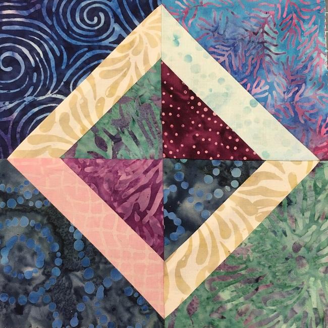Four Batik Blocks Pieced Together