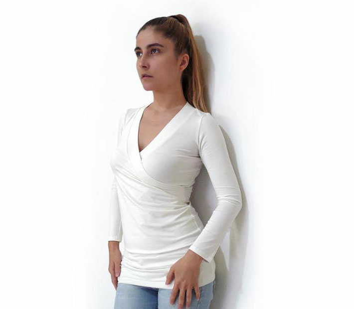 jersey knit top with wrap and v-neckline