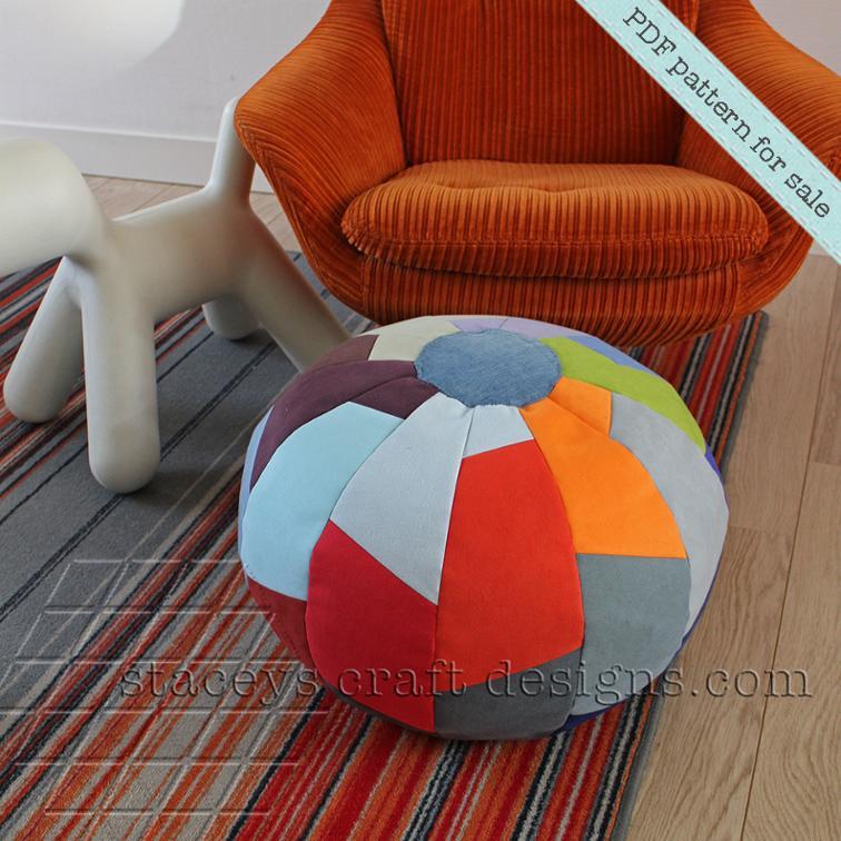 Pouf in Segments Sewing Pattern