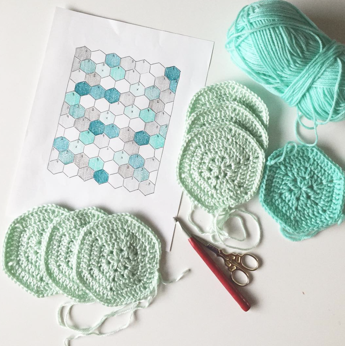 crochet color planning with pencils