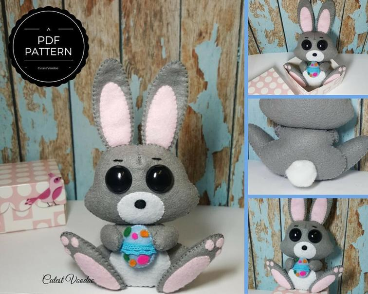 Cute Easter Bunny Felt Sewing Pattern