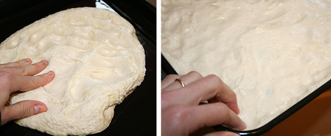 Dough pressed into pan