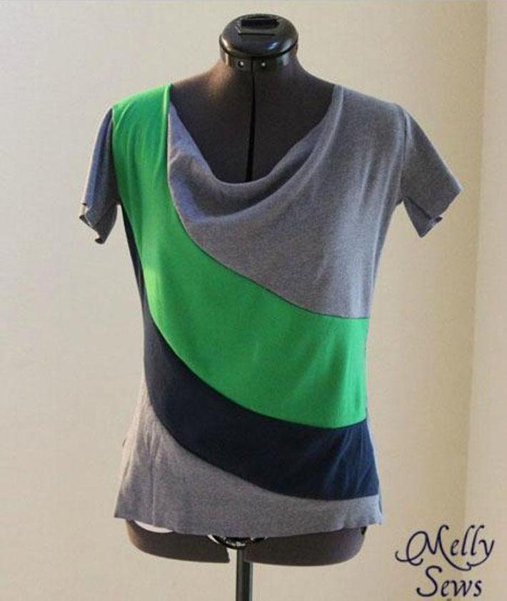 draped color block t-shirt