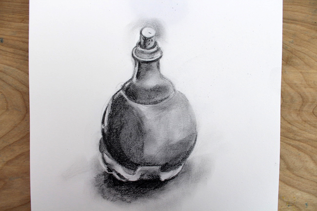 bottle drawn with blended pencil