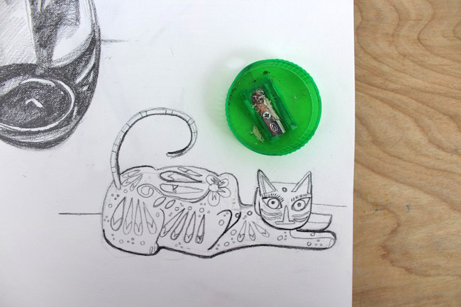 cat drawn with decorative lines