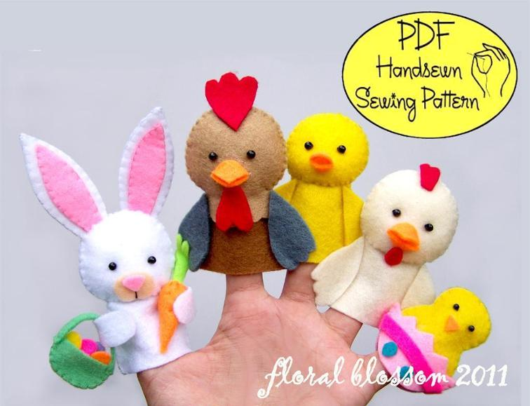 Easter Friends Felt Finger Puppets Sewing Pattern