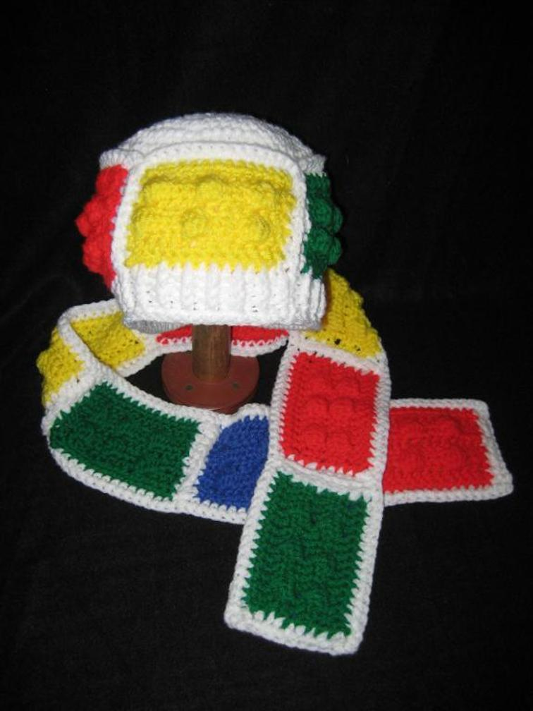 Crochet Lego Hat and Scarf