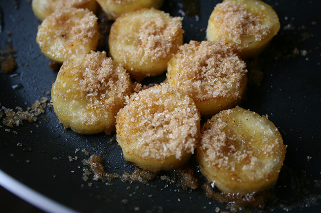 Brown Sugar on Sliced Fried Bananas