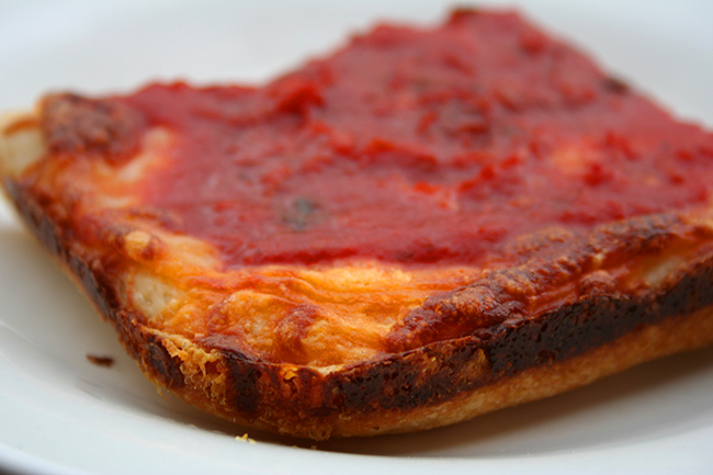 Slice of Detroit pizza