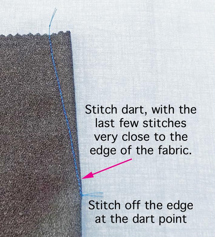 stitch to dart point on edge