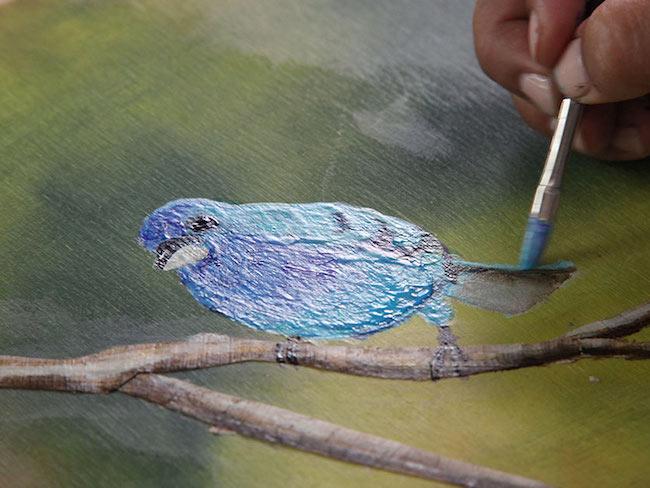 Bird Painting on Canvas With a Medium