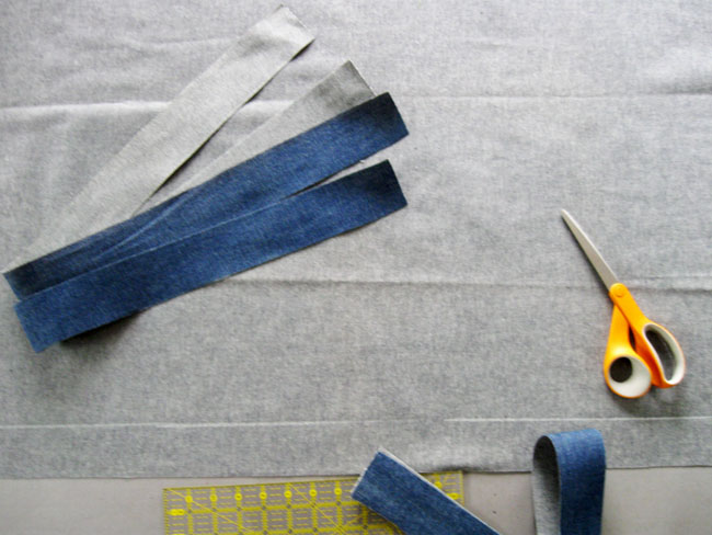 Step 1 cut 4 strips of fabric