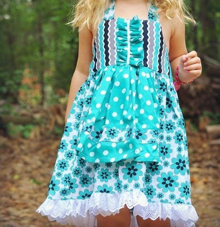 Apron Girls Dress Sewing Pattern