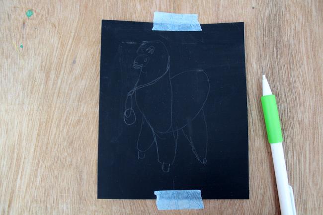 llama painting on black canvas