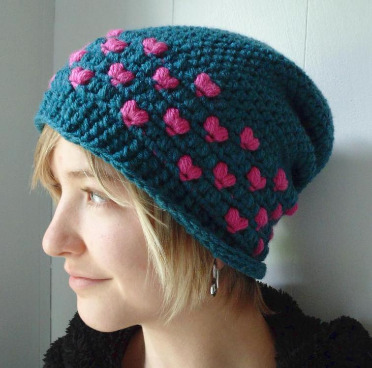 Candy Hearts Slouchy Hat Crochet Pattern