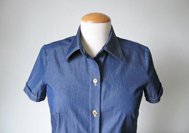 denim shirtdress with topstitched  collar