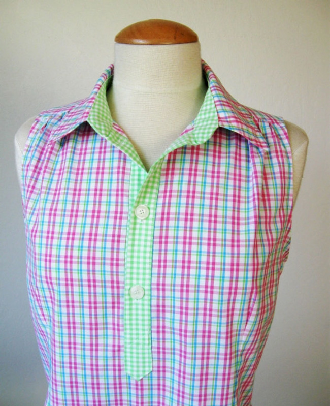 shirt collar plaid popover top