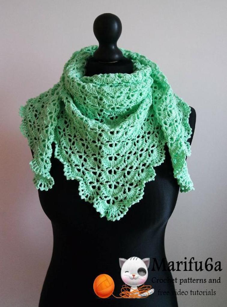 spring crochet triangle shawl