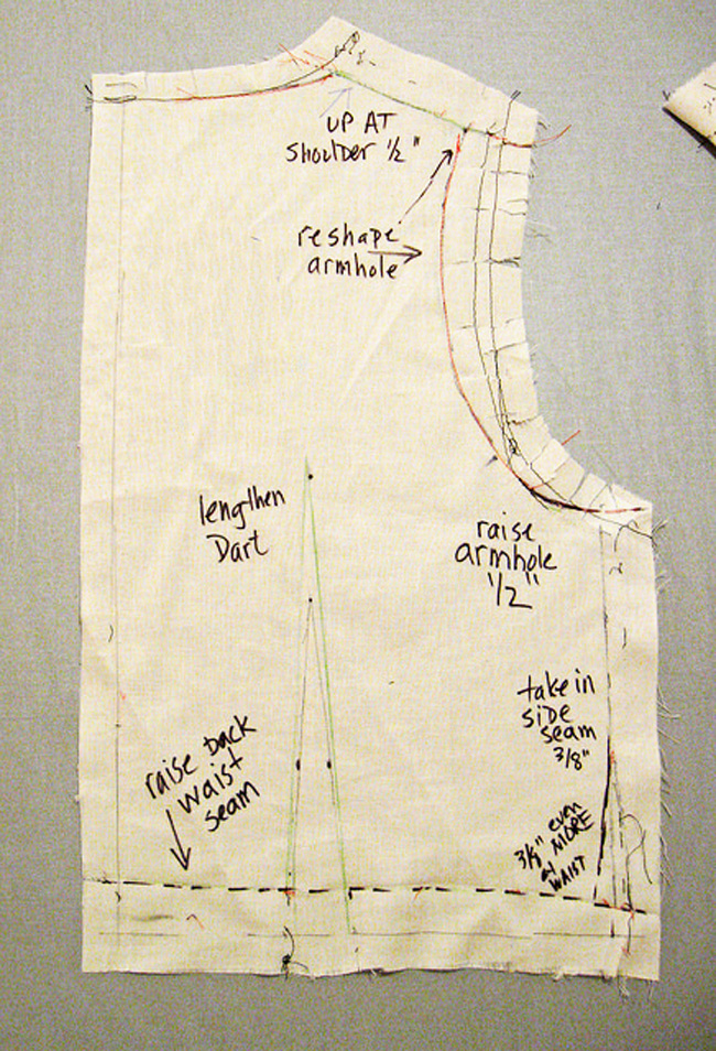 write on muslin pattern piece
